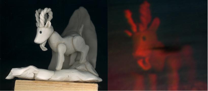"""Plastikas figūriņa un no tās ierakstīta hologramma - daļa no Lailas Trilopas diplomdarba """"Saldējums""""."""